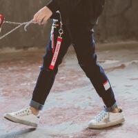 2019 女童牛仔裤秋季新款韩版女童长裤子中大童水洗牛仔印花休闲裤 牛仔色