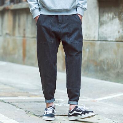 听风 春季日系烟灰色九分牛仔裤男士 青少年做旧宽松哈伦小脚裤潮 发货周期:一般在付款后2-90天左右发货,具体发货时间请以与客服协商的时间为准