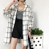 早秋新款韩版女装百搭中长款格子宽松单排扣长袖衬衫外套女防晒衫