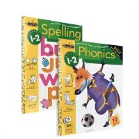 英文原版 进口美国一二年级 Spelling /Phonics Grade 1-2 自然拼读拼写 初级练习册 3本 金