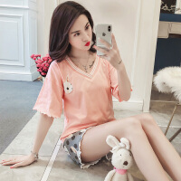 睡衣女夏季韩版清新学生夏天可爱兔子短袖纯棉家居服两件套装宽松 YM兔子V套