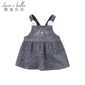 戴维贝拉女童春秋新款背带裙宝宝卡通背心裙DBM7762