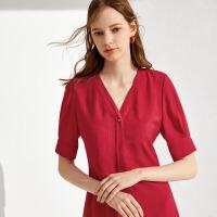 伊芙丽夏季新款韩版女装复古气质裙子红色v领短袖连衣裙