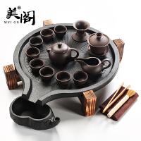 家用紫砂茶具套装陶瓷茶杯实木茶盘石磨茶台