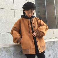 加厚毛呢外套女春季装百搭新款学生棒球服外套宽松呢大衣
