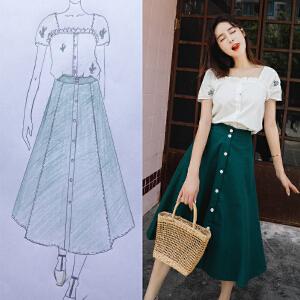 安妮纯俏皮小清新连衣裙女夏2018新款文艺复古高腰网红半身套装裙两件套