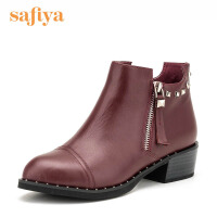 索菲娅(Safiya) 牛皮革方跟尖头时尚短靴SF64115029