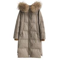 大毛领格子羽绒服女2018新款时尚中长款过膝冬季韩版修身外套