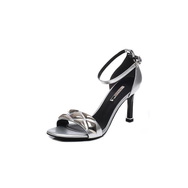 Belle/百丽2017夏专柜同款优雅细高跟羊皮女凉鞋BLW33BL7