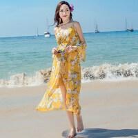 2018新款露肩海边度假沙滩裙夏吊带V领海滩长裙 修身显瘦连衣裙子 黄色