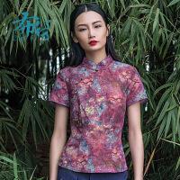 布符2018夏新款中式改良版唐装上衣修身复古中国风短袖盘扣旗袍女