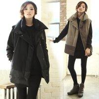 棉衣马甲女士外套秋冬新韩版纯色时尚加厚中长女装上衣潮外套