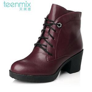 Teenmix/天美意 专柜同款牛皮女皮靴6VF47DD5