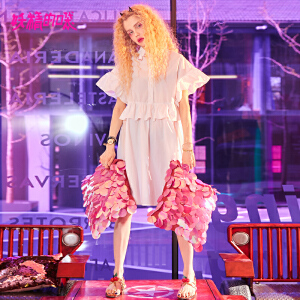 妖精的口袋pphome裙子新款荷叶边少女心仙女裙连衣裙女
