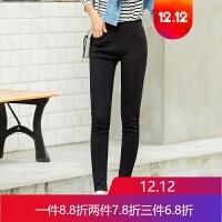 外穿打底裤女秋黑色加绒裤子女冬铅笔裤小脚裤显瘦保暖裤 黑色