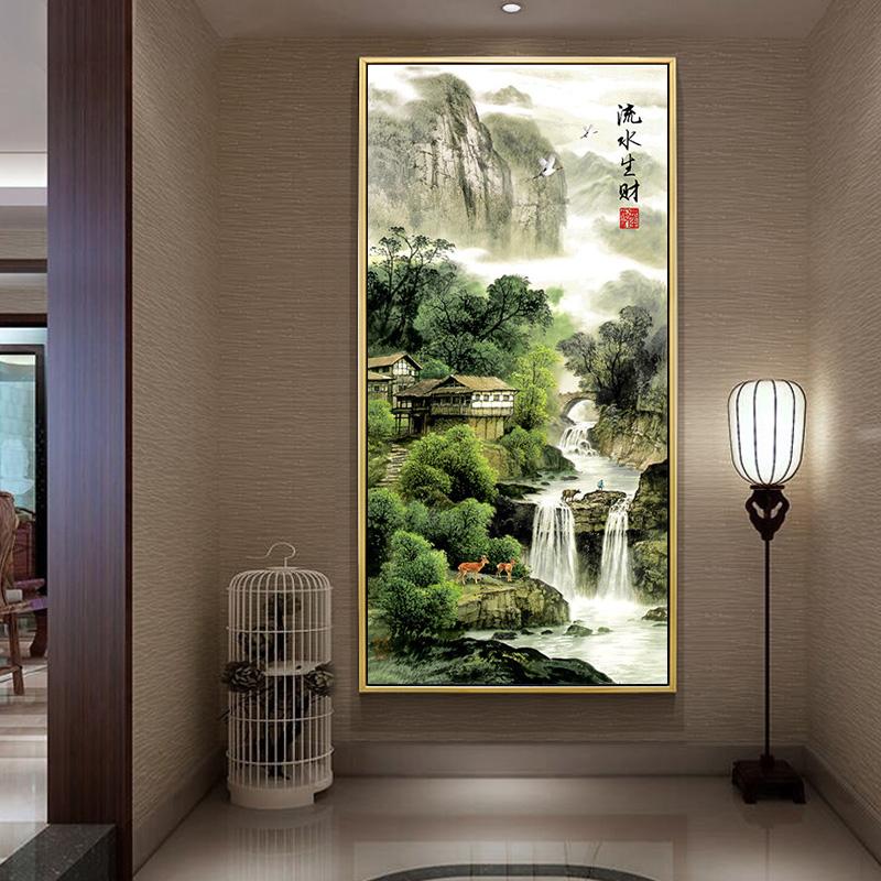 中式十字绣客厅线绣印花流水生财玄关竖版十字绣山水画