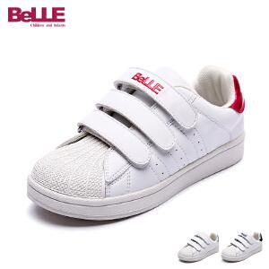 百丽童鞋2017年新款小白鞋中童滑板鞋男童女童三魔术帖休闲鞋 DE0368