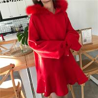 韩国软妹连衣裙冬季女加绒保暖洋气毛领连帽中长款荷叶边卫衣裙子