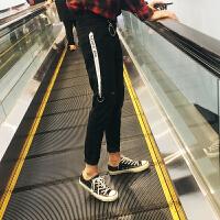港风文艺弹力裤子男修身秋冬款黑色牛仔裤韩版潮流个性印花小脚裤