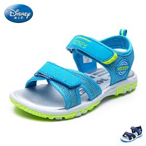 【99元任选2双】迪士尼童鞋男童沙滩凉鞋2017夏季新款小童露趾魔术贴网布儿童凉鞋