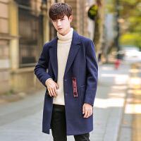 新款2018秋冬男士韩版修身中长款风衣双排扣毛呢外套男潮翻领休闲