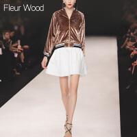 FLEUR WOOD2017秋季新款女欧美休闲宽松条纹拼色小立领夹克短外套