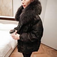 羽绒服女装款时尚冬韩版中长款宽松服迷彩外套潮