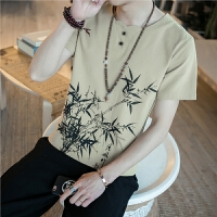 中国风男装亚麻棉麻T恤宽松加大码圆领国风复古水墨印花短袖夏季