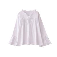 慈姑2018秋季新款甜美复古衬衣喇叭袖木耳边宽松白色衬衫女上衣