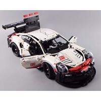 乐高积木保时捷911RSR跑车汽车模型布加迪威龙机械组拼装玩具益智