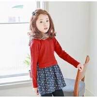 女童连衣裙秋装新品韩国童装中大童长袖韩版假两件童裙