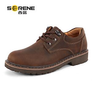 西瑞内增高男鞋工装休闲鞋棉鞋子男士低帮皮鞋英伦大头男鞋6277