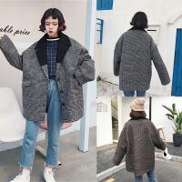 大码风格子呢子大衣女冬季胖mm200斤复古西装领毛衣外套中长款