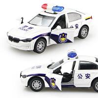 儿童玩具仿真宝马警车合金车模型男孩小汽车警察车回力声光玩具车