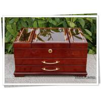 礼物木质首饰盒 欧式木制首饰化妆盒 木质钢琴漆首饰盒大容量生日结婚乔迁礼 深红色