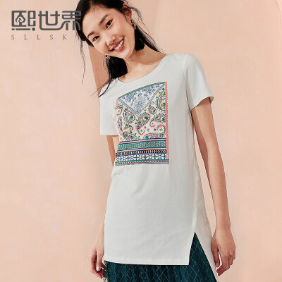 熙世界中长款短袖T恤女2018年夏装新款几何印花圆领上衣112ST014