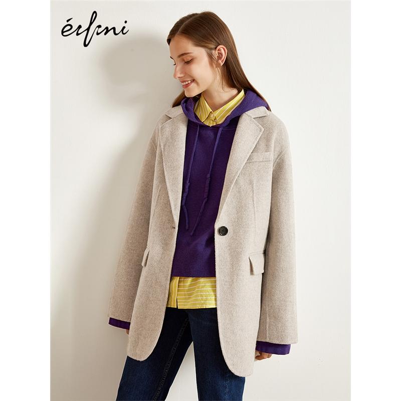 2件4折 100%纯羊毛伊芙丽2018冬装毛呢外套宽松双面呢大衣女