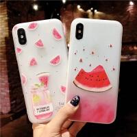 苹果6手机壳iPhone7浮雕软壳6splus磨砂8p夏季西瓜六个性新款x女