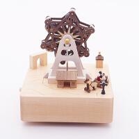 音乐盒八音盒木质女生生日情人节礼物儿童小熊旋转礼品