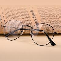 文艺圆形金属眼镜框近视眼镜女复古平光镜男潮可配防辐射
