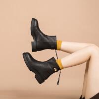 玛菲玛图真皮小皮靴软底短靴复古手工鞋百搭低跟马丁靴女春秋欧美靴子809-7TW
