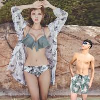 沙滩情侣装三件套性感套装海边度假蜜月装2018新款泳装情侣泳衣