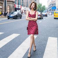 红色吊带无袖连衣裙女装夏季2018新款秋装波点收腰复古慵懒风裙子 红色-/预订5天内发货