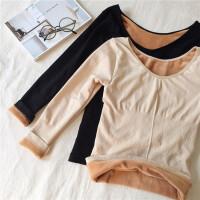秋冬加绒加厚保暖套头打底衫上衣修身显瘦百搭长袖T恤女