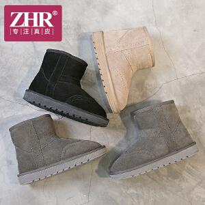 ZHR2017冬季新款复古雪地靴女英伦风加绒短靴真皮棉鞋学生女靴子P51