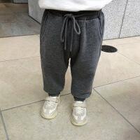婴童装宝宝裤子春秋男童长裤加绒卫衣束脚裤儿童休闲裤加厚 灰色