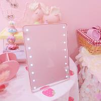 粉色LED化妆镜带灯触屏台式灯梳妆镜欧式台灯公主镜便携带灯镜子