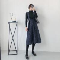 毛呢连衣裙女2018新款秋装气质中长款打底裙裙子格子背带裙吊带裙 藏青格子