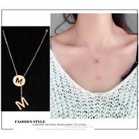 日韩钛钢18k玫瑰金项链女黑陶瓷弹簧锁骨链简约小红人吊坠