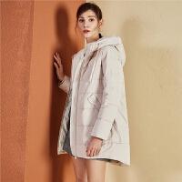 羽绒服女士中长拉夏贝尔2018冬季新款韩版修身大衣时尚欧货外套